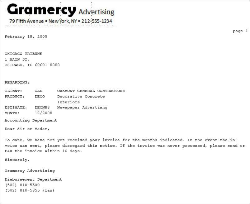 Missing Invoice Letter
